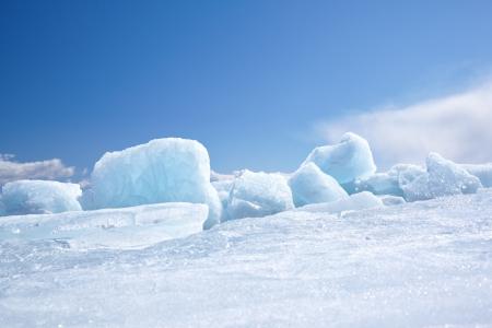 Winter ice landscape on siberian lake Baikal Stock Photo - 15189744