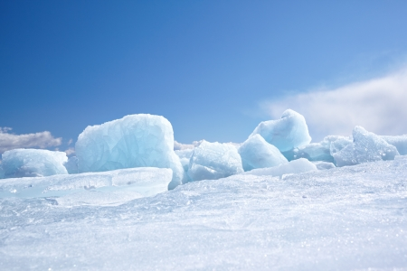 Winter ice landscape on siberian lake Baikal Stock Photo