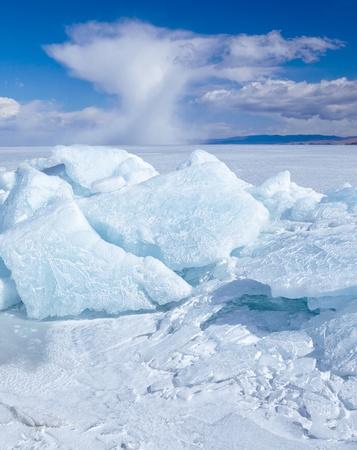 Winter ice landscape on siberian lake Baikal Stock Photo