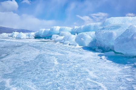 outdoor view of ice blocks at frozen baikal lake in winter Stock Photo - 15189899