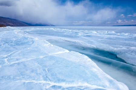 interstice: outdoor view of frozen baikal lake in winter