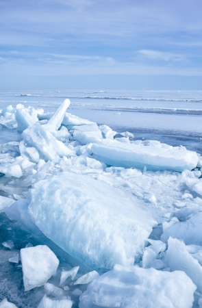 outdoor view of ice blocks at frozen baikal lake in winter Stock Photo - 15189748