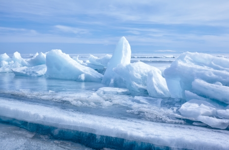 arctic landscape: outdoor view of ice blocks at frozen baikal lake in winter