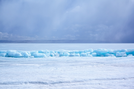 outdoor view of ice blocks at frozen baikal lake in winter Stock Photo - 15189756