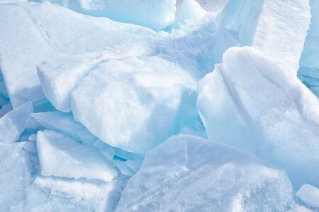 outdoor view of multiple clean ice blocks
