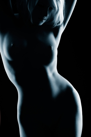 portrait of young nude blonde woman with beautiful body