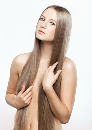 Portrait of beautiful young woman with long blond hair Stock Photo - 15719197