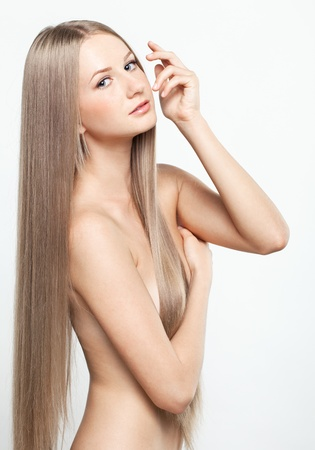 Portrait of beautiful young woman with long blond hair Stock Photo - 15719224