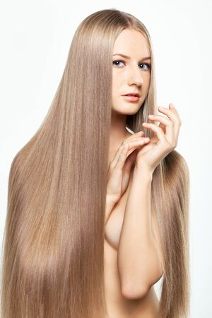 Portrait of beautiful young woman with long blond hair Stock Photo - 15719260