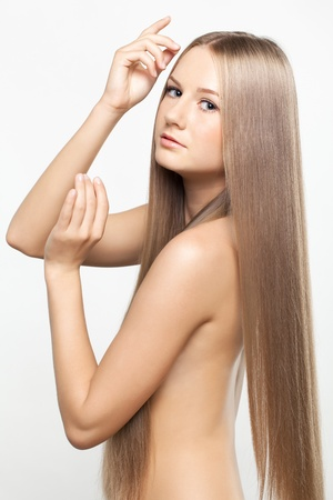 Portrait of beautiful young woman with long blond hair Stock Photo - 15719239