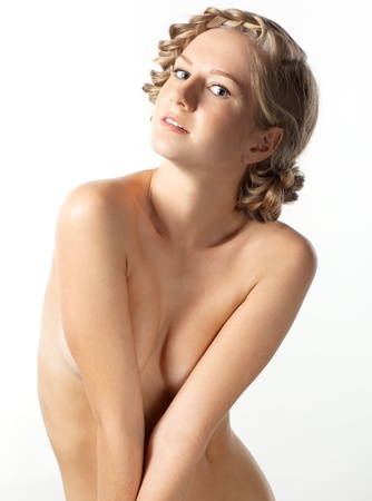 artistic nude: Portrait of beautiful young woman with creative braid hairdo