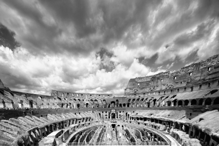 remarkable: Monochrome photo of Colosseum the most well-known and remarkable landmark of Rome and Italy