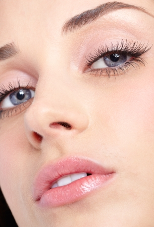 Closeup shot of woman eyes with day makeup photo