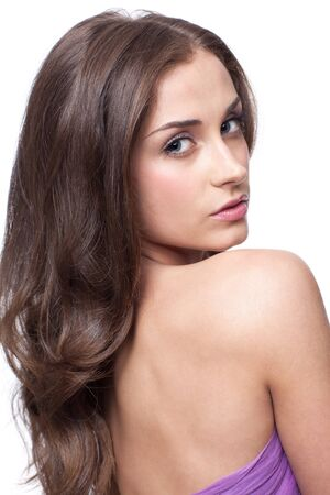 beautiful brunette: Portrait of young beautiful woman with day makeup Stock Photo