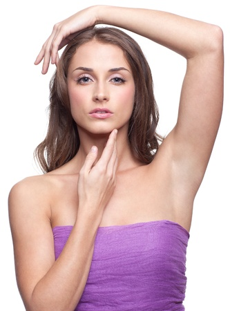 armpit hair: Portrait of young beautiful woman with day makeup Stock Photo