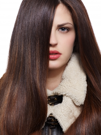longhaired: Pretty woman with long straight brown hair looking at camera