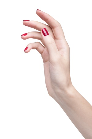 hands with woman's professional red nails manicure isolated on white Stock Photo - 17449432