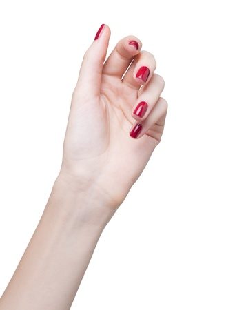 hands with woman's professional red nails manicure isolated on white Stock Photo - 17460635