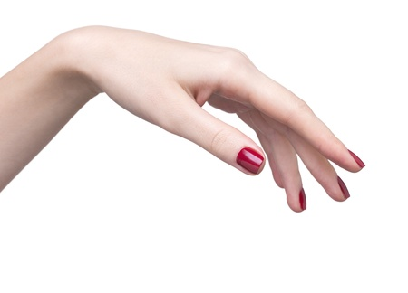 hands with woman's professional red nails manicure isolated on white Stock Photo - 17460629