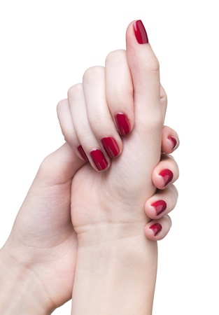 hands with woman's professional red nails manicure isolated on white Stock Photo - 17460649