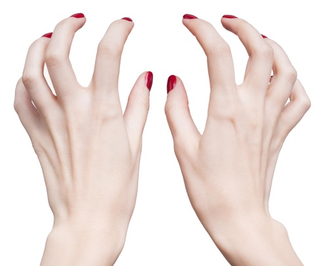hands with woman's professional red nails manicure isolated on white Stock Photo - 17460645