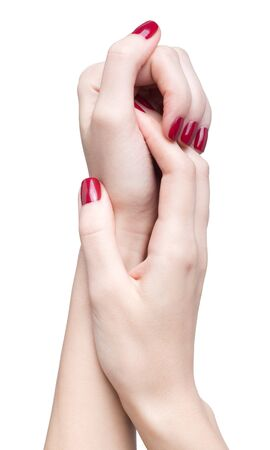 hands with woman's professional red nails manicure isolated on white Stock Photo - 17460658