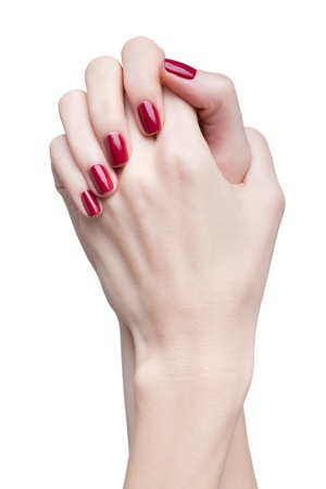 hands with woman's professional red nails manicure isolated on white Stock Photo - 17460667