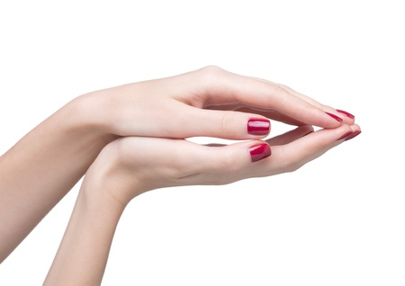 hands with woman's professional red nails manicure isolated on white Stock Photo - 17460630