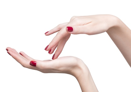 hands with woman's professional red nails manicure isolated on white Stock Photo - 17460640