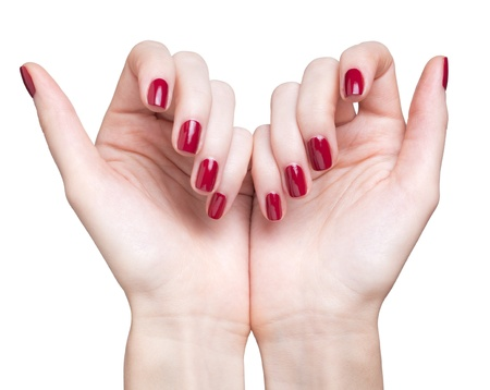 hands with woman's professional red nails manicure isolated on white Stock Photo - 17460674