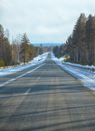 Winter road M52 named Baikal in Siberia Stock Photo - 18957711