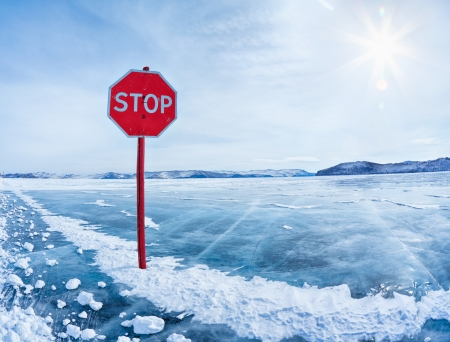 Prohibitive Stop traffic sign on Baikal ice crossing to Olkhon island photo