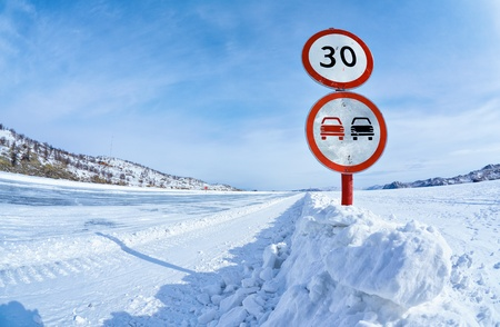 restrictive: Prohibitive traffic sign on Baikal ice crossing to Olkhon island Stock Photo