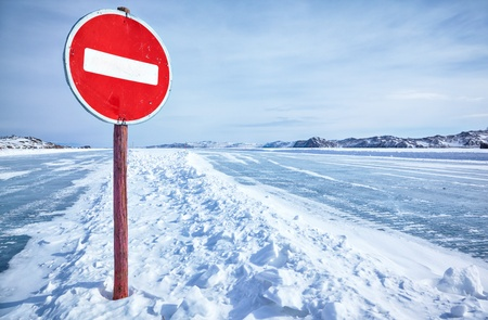 glacial: Prohibitive traffic sign on Baikal ice crossing to Olkhon island Stock Photo