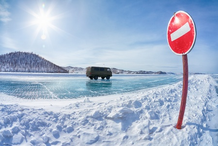 prohibitive: Prohibitive traffic sign on Baikal ice crossing to Olkhon island Stock Photo