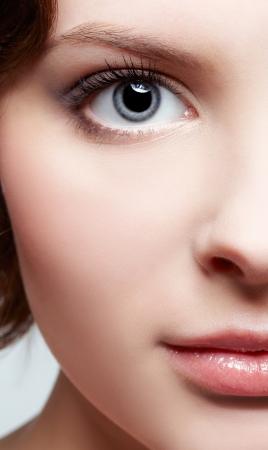 closeup portrait of beautiful young woman Stock Photo