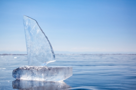 ice surface: Yacht made of ice blocks on winter lake Baikal  Stock Photo