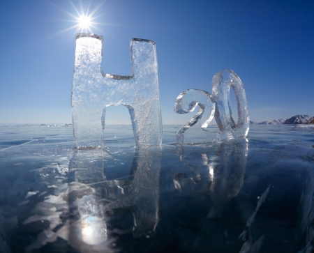 water frozen: Chemical formula of water H2O made from ice on winter frozen lake Baikal