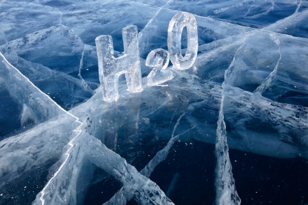 chemical formula: Chemical formula of water H2O made from ice on winter frozen lake Baikal