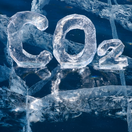 greenhouse gas: Chemical formula of greenhouse gas carbon dioxide CO2 made from ice on winter frozen lake Baikal