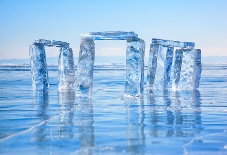 north gate: Icehange - stonehenge made from ice on lake Baikal in Sineria