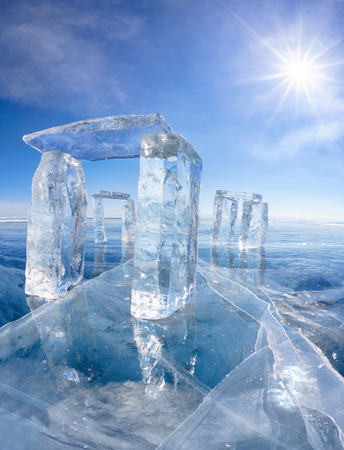 north gate: Icehange - stonehenge made from ice on lake Baikal in Sineria under winter Sun