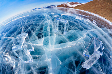 wideangle: Wide-angle shot of Icehange - stonehenge made from ice on lake Baikal in Sineria