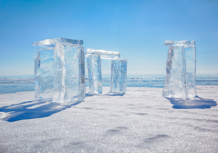 Icehange - stonehenge made from ice on lake Baikal in Sineria