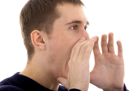 Shouting caucasian male person on isolated background Stock Photo - 24020738