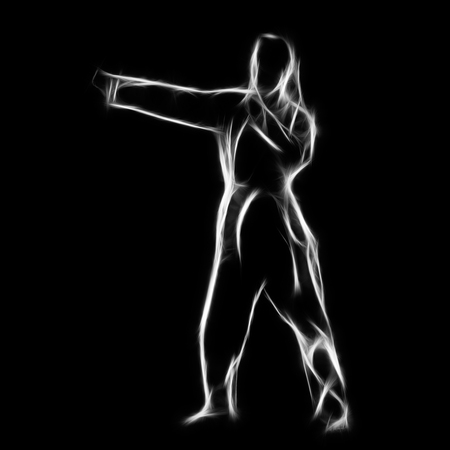 Fractal full-length silhouette portrait of beautiful martial arts girl in kimono excercising karate kata on black Stock Photo - 24528160