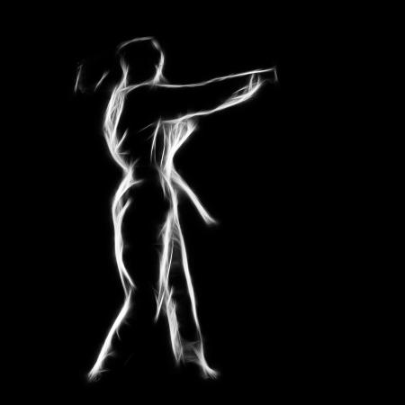 Fractal full-length silhouette portrait of beautiful martial arts girl in kimono excercising karate kata on black Stock Photo - 24528161