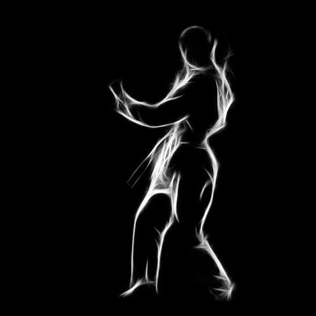 Fractal full-length silhouette portrait of beautiful martial arts girl in kimono excercising karate kata on black Stock Photo - 24528163