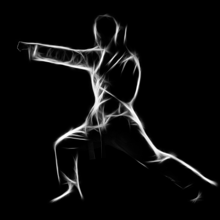 kata: Fractal full-length silhouette portrait of beautiful martial arts girl in kimono excercising karate kata on black Stock Photo