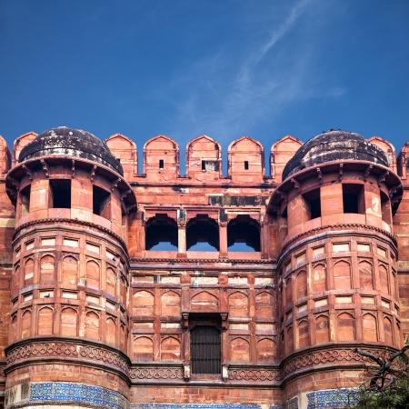 uttar pradesh: Main entrance gate of Red Agra fort, Uttar Pradesh, India